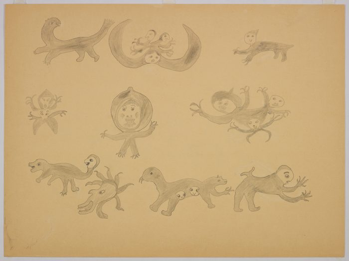 Imaginary scene depicting ten very different types of creatures with extra faces and some have extra arms. Scene presented in a two-dimensional style and using grey.