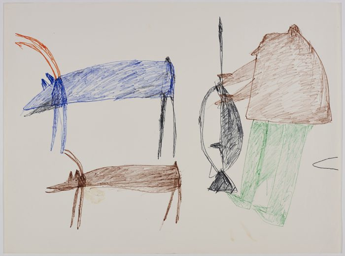 Two caribou on the left side and a hunter with his gun on the right side of the page. They are depicted in a flat, two-dimensional style with minimal detail using green, blue, black and orange.