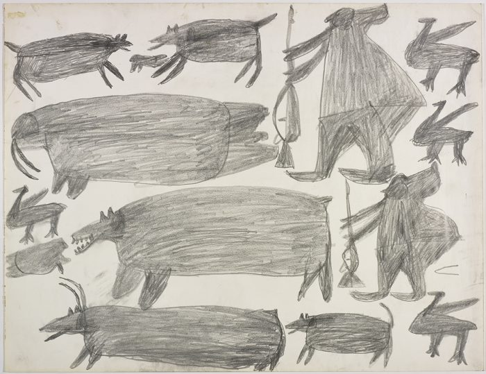 Two dogs surrounding a seal, two birds, a walrus and a human figure holding a gun on the top and two more birds, one bear, a caribou, one seal and a second hunter holding a weapon on the bottom of the page. They are depicted in a flat, two-dimensional style with minimal detail using grey.