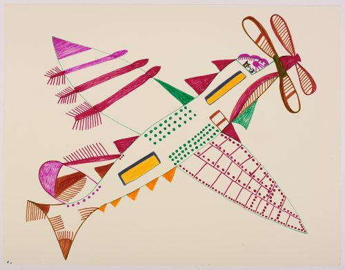 Surreal airplane with a fish-like tail and fins, two nose propellers, a pilot visible from the front window and one wing with many rivets. Plane presented in a two-dimensional style using purple, pink, yellow, blue, brown, ad green.
