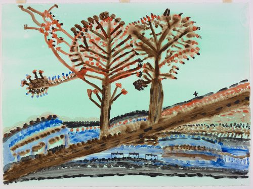Stylized landscape depicting two large trees in the middle of the image with a small human figure on the right and three small buildings in a row just below the trees. Scene presented in a two-dimensional style using blue, black, brown and orange.