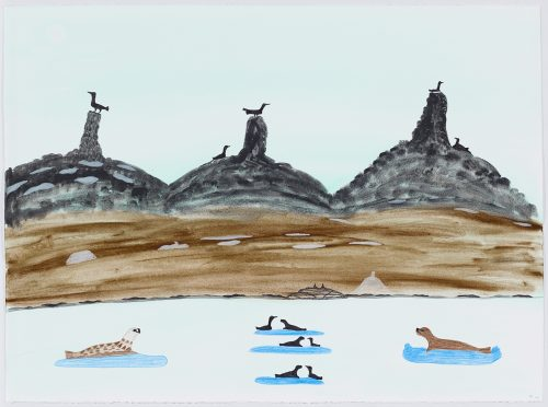 Symmetrical landscape depicting seals and birds resting on five different pieces of ice in the forground in front of a shoreline with three dark, rounded hills with birds sitting on stone cairns in the background. Presented in a flat, vertical perspective style using black, brown and blue.