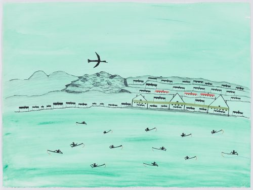 Landscape depicting a shoreline with thirteen boats, each with a single human figure in them, floating in front of multiple rows of buildings next to rocky hills and a large flying bird on the left side of the page. Presented in a flat, vertical perspective style using black, green, red, brown and blue.
