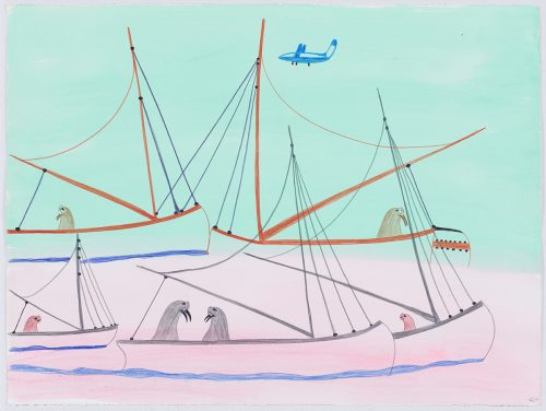 Surreal scene depicting a group of five sailboats, each holding at least one walrus or seal in them and an airplane is flying above. Presented in a two-dimensional style using blue, black, brown, red, brown and orange.