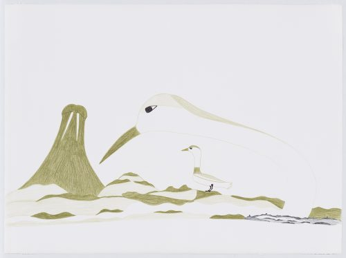 Landscape depicting a rocky terrain with a large bird standing near the middle of the image and the head of a very large bird next to a similarly sized walrus displaying its tusks are visible in the background. Scene presented in a flat, two-dimensional style using grey, black and blue.