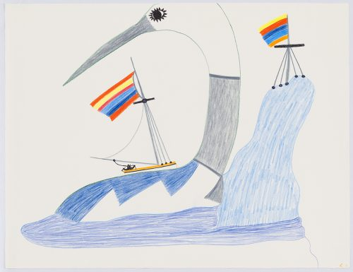 Scene depicting a sailboat flying a colourful flag on top of a large bird with geometric patterns on its body next to a large iceberg that also has a pole flying a colourful flag on it. Scene presented in a two-dimensional style using black, orange, yellow, blue and grey.