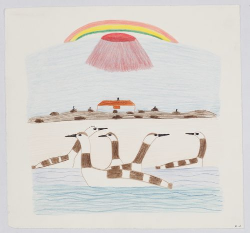 Scene depicting a group of five birds floating on water in the foreground, a building surrounded by rock cairns in the middleground and a large, rounded cone shape underneath a rainbow in the background. Scene presented in a flat, vertical perspective style using black, brown, red, blue, orange, green and yellow.