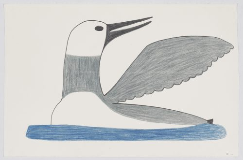 A stylized bird with a long thin beak looking over its outstratched wing while floating on a body of water. Figure presented in a flat, two-dimensional style using blue, black and grey.
