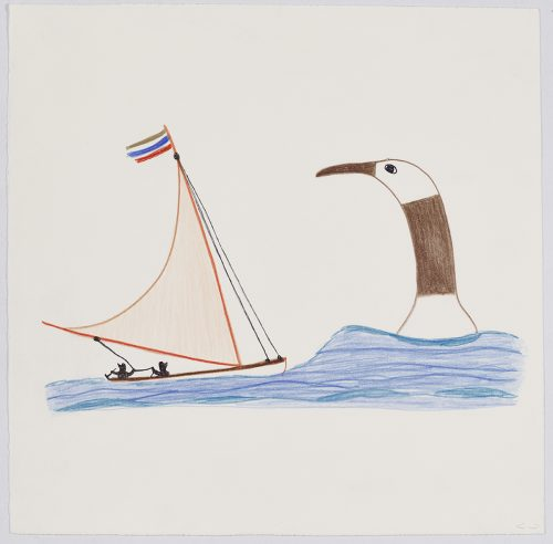 A sailboat with two human figures is sailing on rough waters towards a large bird facing towards them and is only visible from the neck up. Scene presented in a flat, two-dimensional style using blue, brown, red and black.