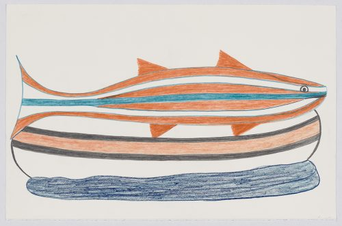 scene depicting a large striped fish running the length of its body resting on top of a boat of the same size. Presented in a two-dimensional style using blue, black and orange.
