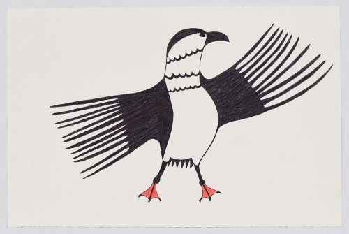 Stylized bird standing upright on its feet with its wings outstretched and displaying many long, thin feathers. Presented in a two-dimensional style using black and orange.