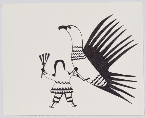 Scene depicting a human figure holding an object in one hand and the other is raised towards a large, stylized bird with patterns on its body and long, pointy wing and tail feathers. Presented in a two-dimensional style using black.