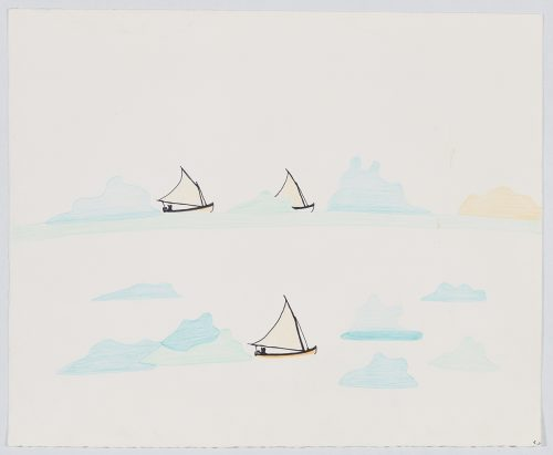 Three sailboats depicted in open water surrounded by large pieces of ice and a sun setting on the right side of the page. Presented in a flat, vertial perspective using blue, yellow and black.