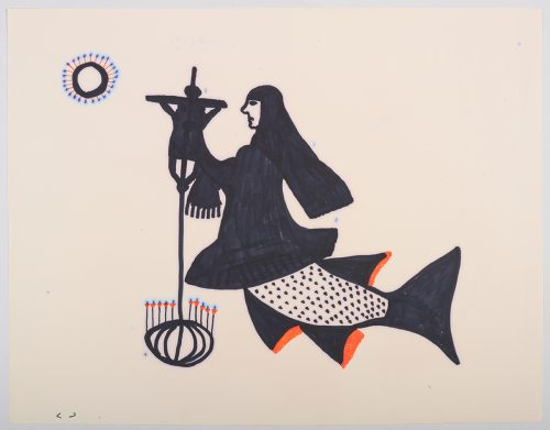 Scene depicting a human-sea-animal hybrid wearing a nun's habit. They are holding an object with a row of candles on the bottom and Jesus on the cross at the top while facing a circular form in the top right corner. Presented in a two-dimensional style using black, blue, orange and red.