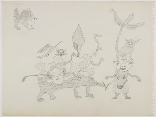 Scene depicting two groups of imaginary, hybrid creature standing on top of each other and a spikey fish with legs in the top right corner. Scene presented in a two-dimensional style using grey.