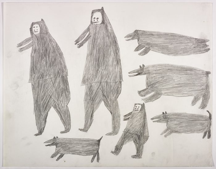 One seal, two dogs and a small human on the right side and two humans and a dog on the left side of the page. They are depicted in a flat, two-dimensional style with minimal detail using grey.