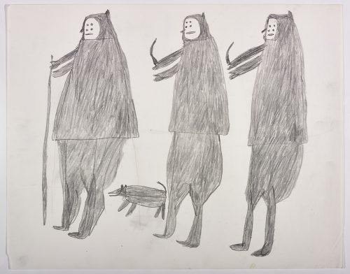 Three large human figures, one is holding a long stick and the others are holding knives and there is a dog in between them. They are depicted in a flat, two-dimensional style with minimal detail using grey.