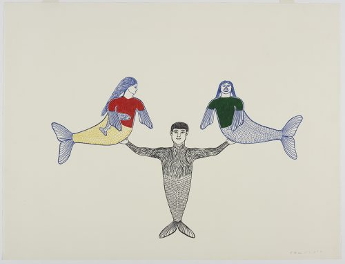 Scene depicting three mermaids: one male mermaid is standing on his tail fin while carrying female mermaids with flippers as hands in each arm. Figure presented in a two-dimensional style and using blue, red, green yellow and black.