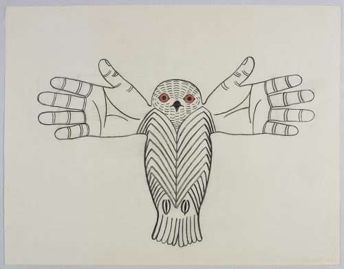 Symmetrical line drawing depicting an imaginary owl with human hands as outstretched wings and a striped body. Creature presented in a three-dimensional style and using black and red.