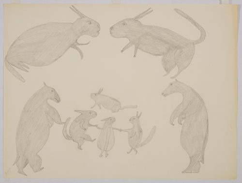 Imaginary scene depicting four small, stylized rabbits standing in a circle with two bears on the left and the right and two large rabbits above them. Scene presented in a two-dimensional style and using grey.