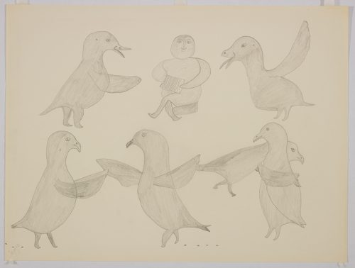 Two birds standing and facing left. Presented in a two-dimensional style and using grey.