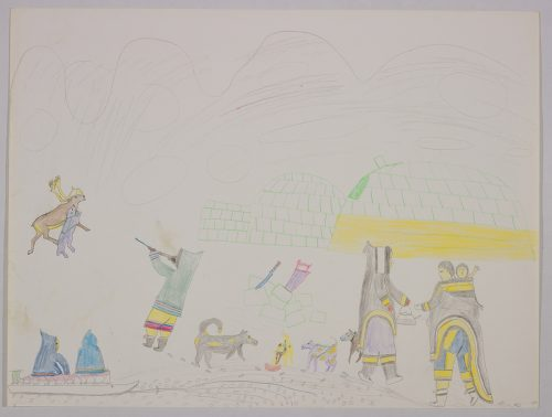 Imaginary scene depicting a hunter pointing a gun towards a caribou attacked by a dog, two Inuit sitting on a sled, four dogs and two Inuit women wearing amautiks carrying a baby and a tea kettle in front of an igloo. Scene presented in a two-dimensional style and using grey.