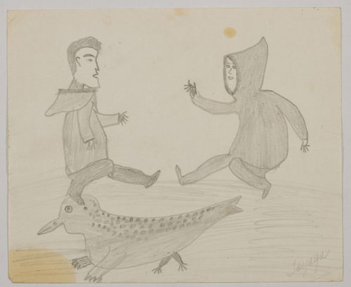 Imaginary scene depicting two human figures facing each other dancing above a bird-seal hybrid creature. Scene presented in a two-dimensional style and using grey.
