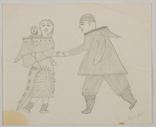 A man and a woman wearing traditional Inuit clothing shake hands. The woman has a baby in the hood of her amautik. Scene presented in a two-dimensional style and using grey.