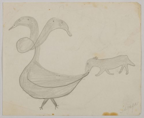Imaginary scene depicting a strange two-headed bird with a twisted neck and a dog biting its tail. Scene presented in a two-dimensional style and using grey.