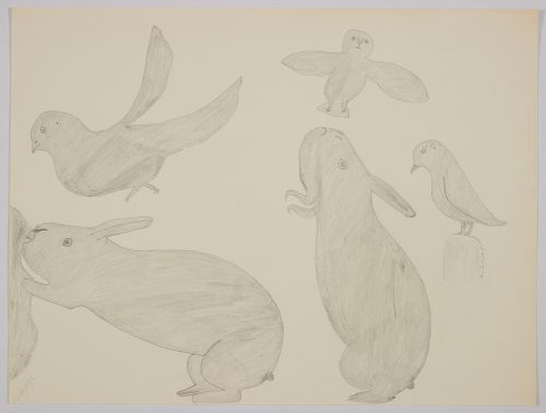 Playful scene depicting Two large rabbits are standing surronded by three birds on the top and right side of the page. Scene presented in a two-dimensional style and using grey.