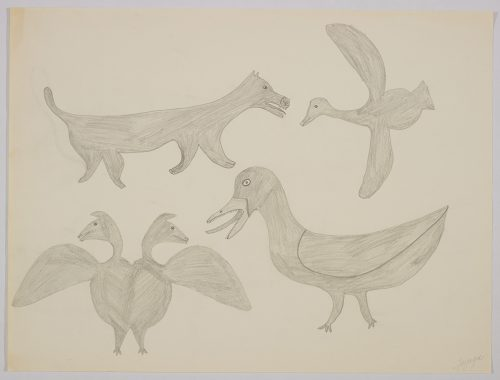 Imaginary scene depicting a two-headed bird next to a large duck, a flying bird and a dog standing in the top left corner. Scene presented in a two-dimensional style and using grey.