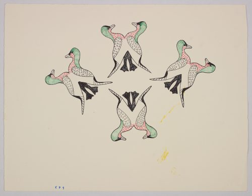 diamond-shaped design depicting four symmetrical groups of stylized birds conjoined at their stomachs. Presented in a two-dimensional style and using green, red and black.