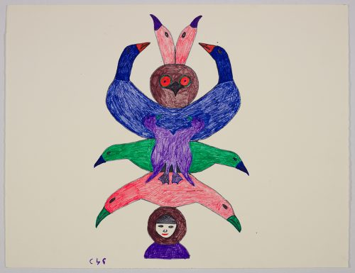 Symmetrical scene depicting nine bird heads all connected together and resting on top of a human head wearing a park at the bottom. Design presented in a two-dimensional style and using pink, blue, green, purple, and brown.