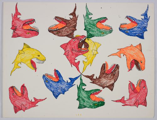 Group of thirteen small, nearly identical looking sharks facing left, right, upsidedown and rightside up. Scene presented in a two-dimensional style using red, yellow, blue, brown, green, and orange.