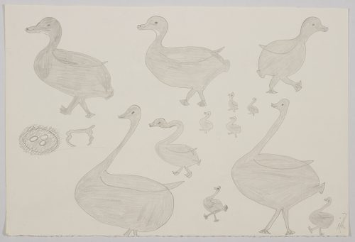 Playful scene depicting five large birds and seven smaller birds next to a nest with three eggs. Scene presented in a two-dimensional style and using grey.
