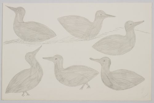 Playful scene depicting a grouping of six birds in a minimal landscape; four of them are sitting and two are standing. Scene presented in a two-dimensional style and using grey.