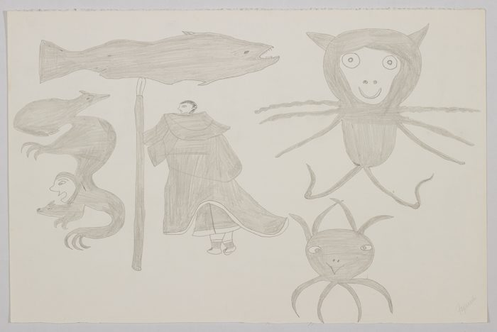 Scene depicting a human is holding a fishing spear surrounded by strange creatures and a large fish. Scene presented in a two-dimensional style and using grey.
