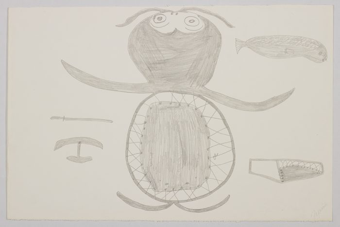 Imaginary scene depicting a creature with a sealskin stretcher for a body surrounded by traditional inunit tools and a seal. Presented in a two-dimensional style and using grey.