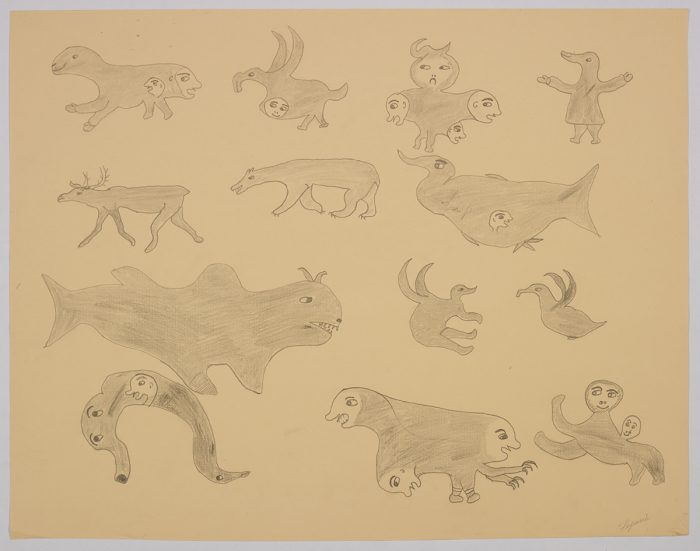 Imaginary scene depicting a caribou and a polar bear amongst a group of ten different creatures, many with multiple heads. Scene presented in a two-dimensional style and using grey.