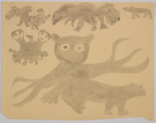 Imaginary scene depicting six different creatures with multiple body features Including a very large two-headed bear with a human face and another creature growing out of its lower back. Scene presented in a two-dimensional style and using grey.