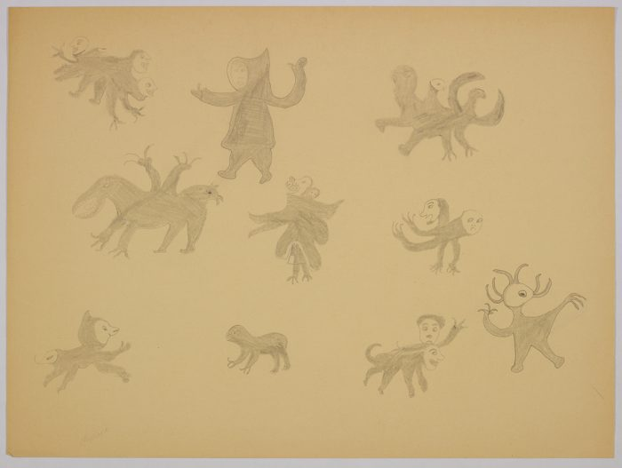 Imaginary scene depicting ten different creatures with multiple arms and heads including a bird with teeth wearing an amautik and carrying a baby in her hood. Scene presented in a two-dimensional style and using grey.