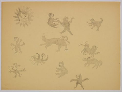 Imaginary scene depicting ten different animal-human hybrid creatures as well as a large human face with rounded geometric shapes surrounding it. Scene presented in a two-dimensional style and using grey.