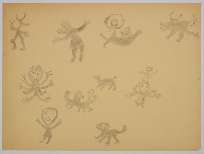 Imaginary scene depicting ten animal-human hybrid creatures including a sea creature with three human heads holding two knives and a creature with four arms and a smaller figure standing on it's large head. Scene presented in a two-dimensional style and using grey.