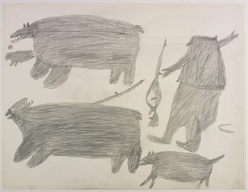 Two polar bears, one got hit by a hunter with a harpoon, and a seal on the left side and a hunter with his rifle and a dog on the right side of the page. They are depicted in a flat, two-dimensional style with minimal detail using grey.