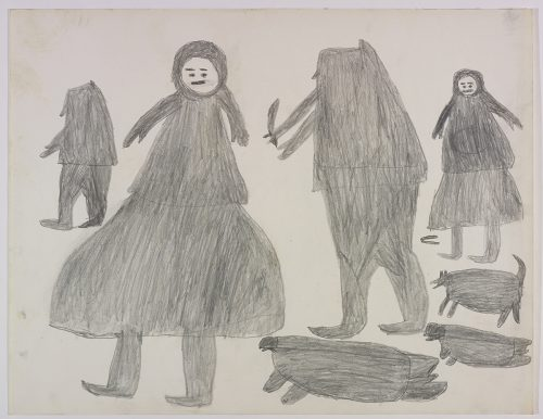 Two people on the left side of the page and two more people, two seals and a dog on the right side of the page. They are depicted in a flat, two-dimensional style with minimal detail using grey.