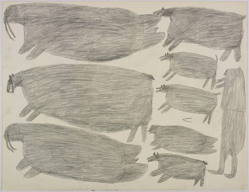 Two large walrus and two large polar bears on the left side and three dogs, a seal and a hunter on the right side of the page. They are depicted in a flat, two-dimensional style with minimal detail using grey.