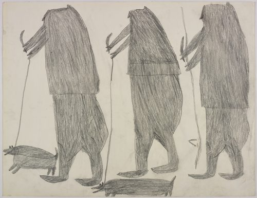 Two men holding dogs on leashes and knives on the left side and a man holding a knife on the right side of the page. They are depicted in a flat, two-dimensional style with minimal detail using grey.