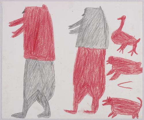 Two men standing on the left side and a bird, a seal and a dog on the right side of the page. They are depicted in a flat, two-dimensional style with minimal detail using red and grey.