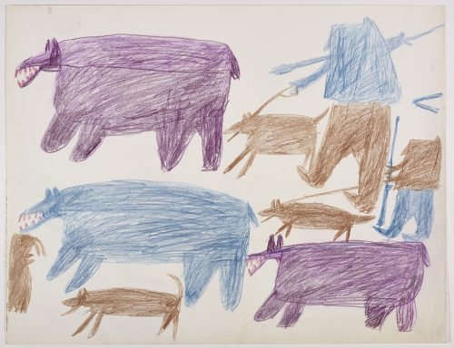 Two polar bears, one dog and a small walrus on the left side and two dogs, two hunters and a polar bear on the right side of the page. They are depicted in a flat, two-dimensional style with minimal detail using purple, blue, brown and red.