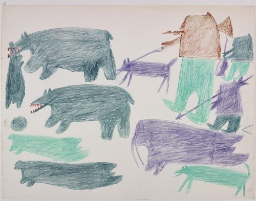 Two polar bears, one with a seal in its mouth, and two more seals below on the left side and three humans, two dogs and one walrus on the right side of the page. They are depicted in a flat, two-dimensional style with minimal detail using aqua, violet, green and brown.